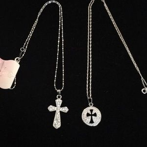 New 2 dainty cross short  necklaces silver tone